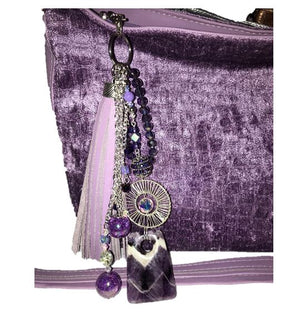 Lavender Leather and Velvet Slouchy Hobo bling keyring