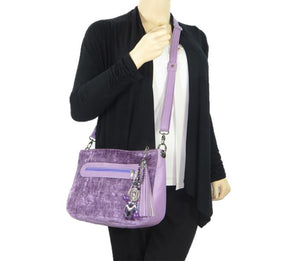 Lavender Leather and Velvet Slouchy Hobo model view