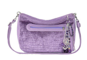 Lavender Leather and Velvet Slouchy Hobo relaxed strap view