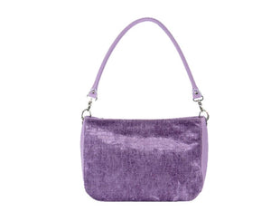 Lavender Leather and Velvet Slouchy Hobo short handle back view