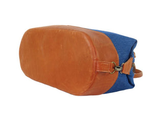 Leather and Denim Weekender bottom view