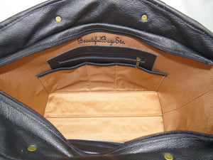 Leather and Tapestry X Tote interior pockets