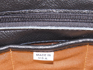 Leather and Tapestry X Tote made in USA tag