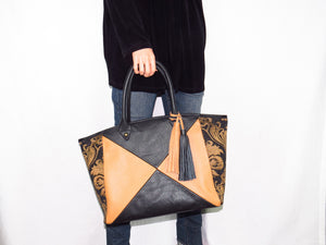 Leather and Tapestry X Tote model
