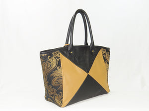 Leather and Tapestry X Tote side