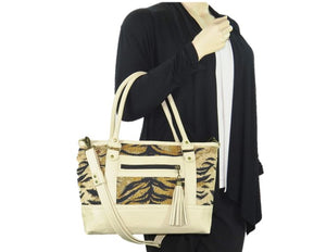 Leather and Tiger Stripe Chenille Zipper Tote model view
