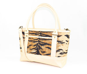 Leather and Tiger Stripe Chenille Zipper Tote reverse side