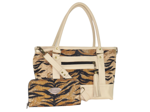 Leather and Tiger Stripe Chenille Zipper Tote with companion wallet