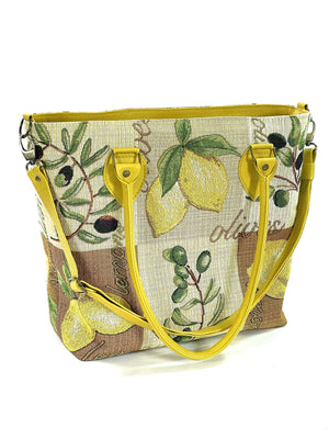 Lemon Tapestry Oversize Tote handles down view