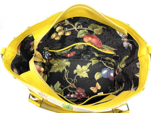 Lemon Tapestry Oversize Tote interior pockets view