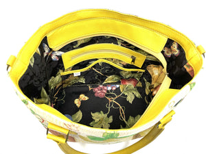 Lemon Tapestry Oversize Tote interior zipper pocket view