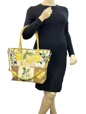 Lemon Tapestry Oversize Tote model view