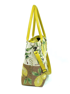 Lemon Tapestry Oversize Tote side view