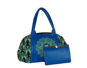 Mandala Leather and Peacock Print Doctor Bag with companion wallet