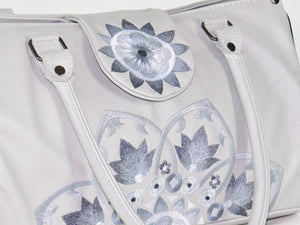 Mandala Sunrise Embroidered Gray Leather Tote Handbag embroidery close up