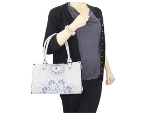 Mandala Sunrise Embroidered Gray Leather Tote Handbag model view
