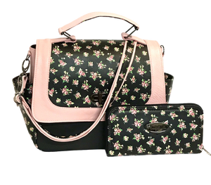 Meredith's Pink on Black Floral Flap Bag