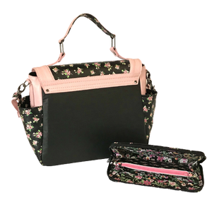 Meredith's Pink on Black Floral Flap Bag back view