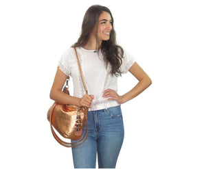 Metallic Copper Leather Slouchy Hobo Bag Bella view