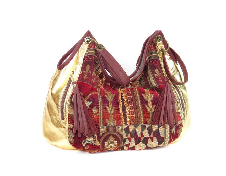 Metallic Gold Lambskin and Chenille Tapestry Satchel Weekender