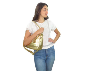 Metallic Gold Leather Slouch Hobo Bag Bella view