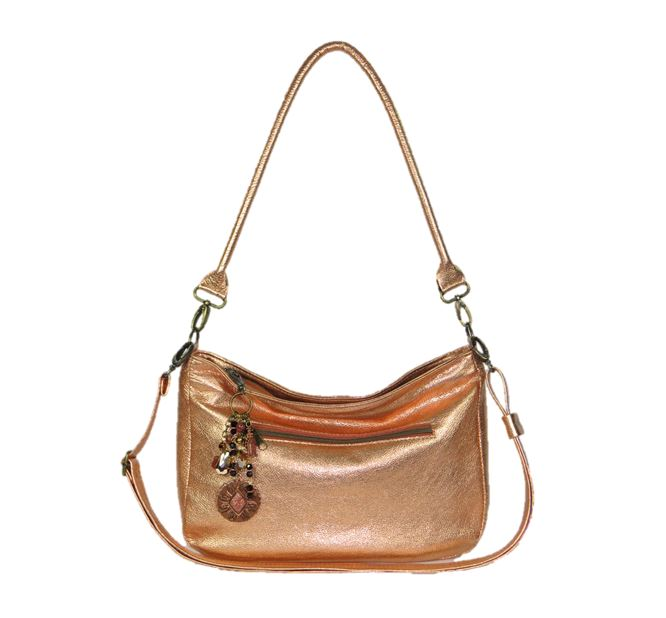 Metallic Copper Leather Slouchy Hobo Bag