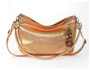 Metallic Copper Leather Slouchy Hobo Bag handle view