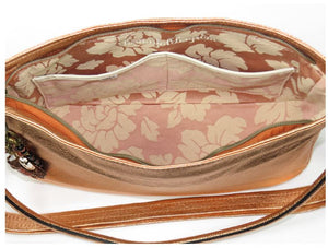 Metallic Copper Leather Slouchy Hobo Bag interior pockets view