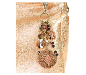 Metallic Copper Leather Slouchy Hobo Bag keychain bling