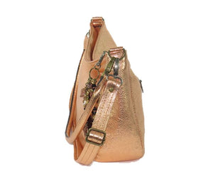 Metallic Copper Leather Slouchy Hobo Bag side view