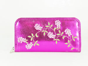 Metallic Fuscia Leather Wallet