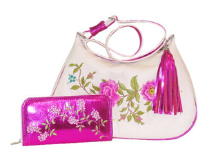 Metallic Fuscia Leather Wallet and matching hobo handbag
