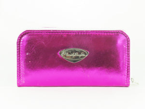 Metallic Fuscia Leather Wallet back view