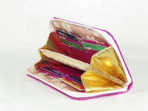 Metallic Fuscia Leather Wallet interior