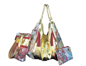 Metallic Gold Genuine Italian Lambskin and Tapestry Satchel Collection