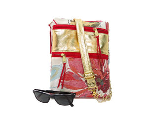 Metallic Gold Genuine Italian Lambskin and Tapestry Satchel Ensemble crossbody