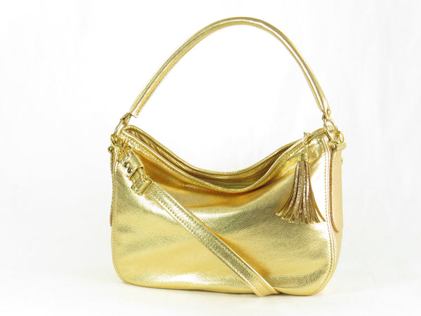 Metallic Gold Leather Slouch Hobo Bag