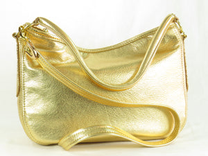 Metallic Gold Leather Slouch Hobo Bag back side