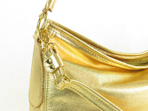 Metallic Gold Leather Slouch Hobo Bag hardware close up left