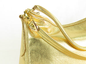 Metallic Gold Leather Slouch Hobo Bag hardware close up right