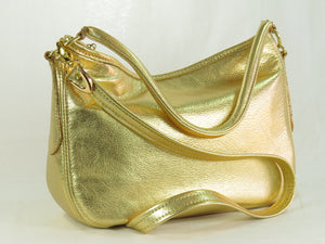 Metallic Gold Leather Slouch Hobo Bag natural lighting
