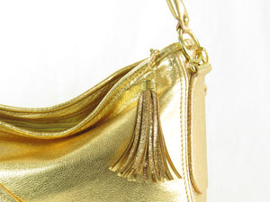 Metallic Gold Leather Slouch Hobo Bag tassel