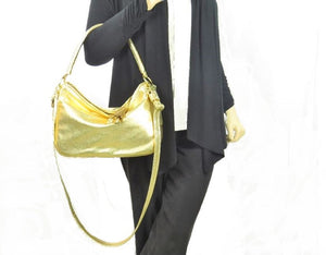 Metallic Gold Leather Slouch Hobo model 1