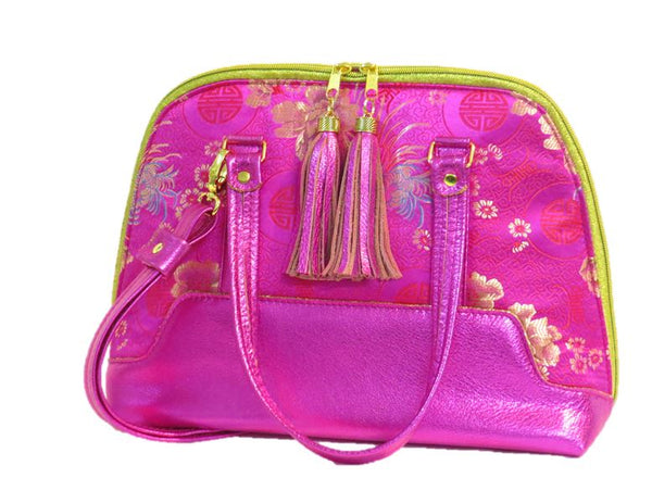 Metallic Hot Pink Leather Asian Silk Bowler Bag