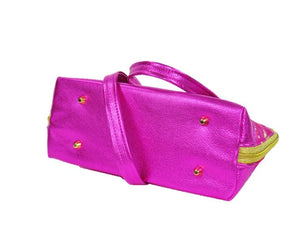 Metallic Hot Pink Leather Asian Silk Bowler Bag bottom view