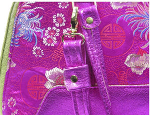 Metallic Hot Pink Leather Asian Silk Bowler Bag hardware view