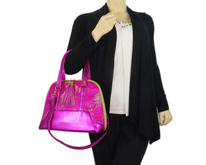 Metallic Hot Pink Leather Asian Silk Bowler Bag model view