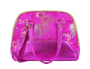 Metallic Hot Pink Leather Asian Silk Bowler Bag opposite view