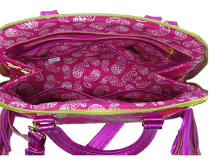 Metallic Hot Pink Leather Asian Silk Bowler Bag pockets view