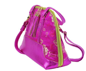 Metallic Hot Pink Leather Asian Silk Bowler Bag side view